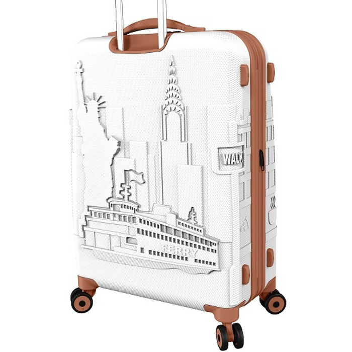 white luggage bag new york