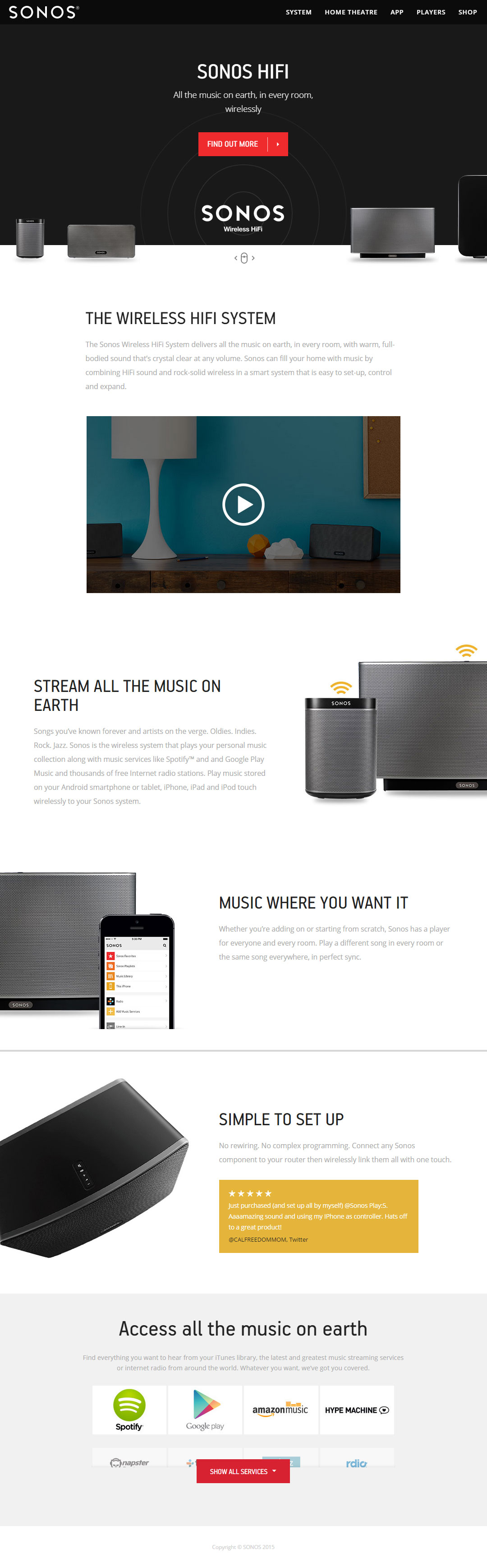 SONOS website screenshot