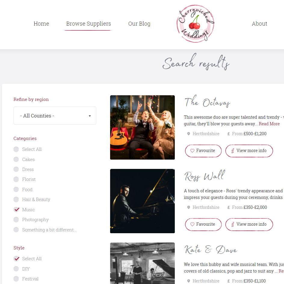 Cherrypicked Weddings Search Results