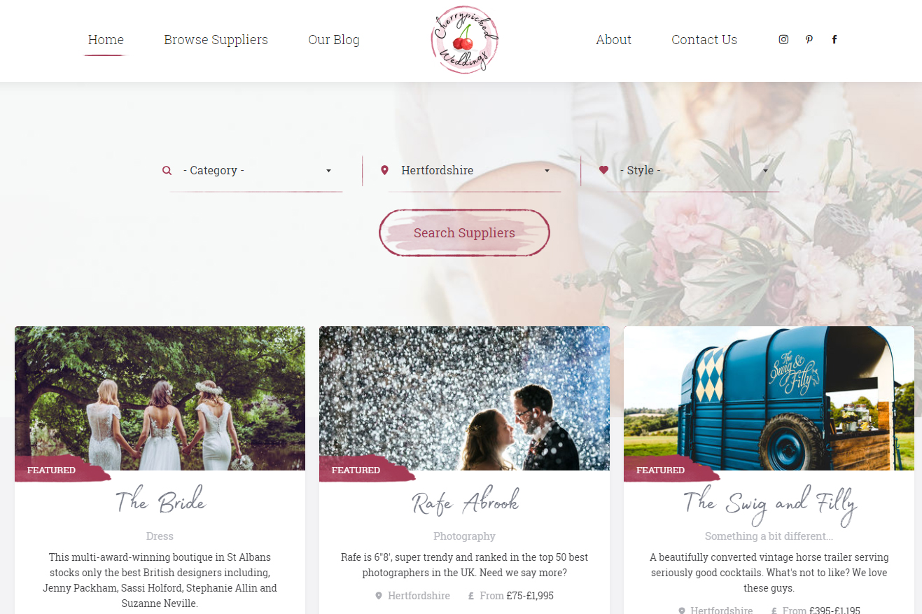 Cherrypicked Weddings Search