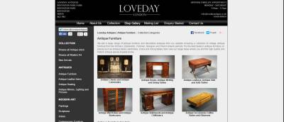 antique furniture sales e commerce screenshot